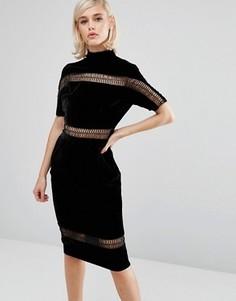 Бархатное платье с высоким воротом и отделкой лесенка Lost Ink - Черный