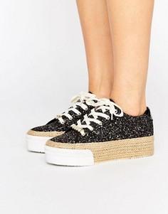 Кеды-эспадрильи с блестками на плоской платформе Juicy Couture Blainnne - Черный