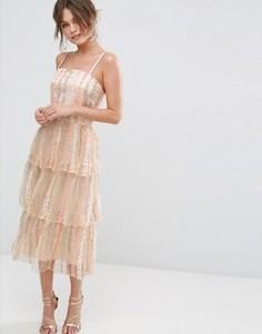 Платье миди на лямках с ярусной юбкой True Violet - Розовый