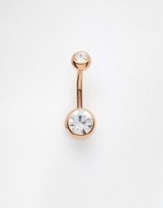 Пирсинг для пупка цвета розового золота Kingsley Ryan - Серебряный