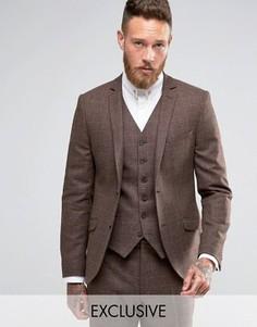 Облегающий пиджак в клетку Heart & Dagger - Коричневый