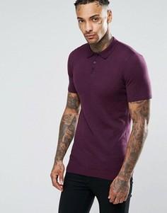 Бордовое хлопковое поло ASOS - Фиолетовый