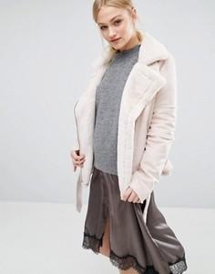 Байкерская куртка из искусственной овечьей шерсти J.O.A - Кремовый J.O.A.