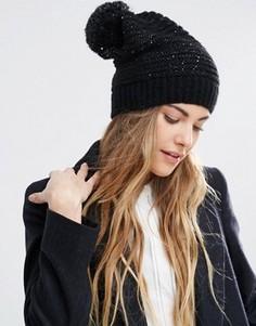 Свободная шапка-бини с пайетками и помпоном Helene Berman - Черный
