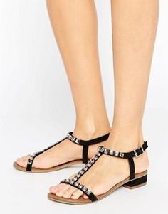 Черные сандалии с Т-образным ремешком и отделкой Little Mistress - Черный