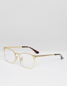 Очки-клабмастеры в золотистой оправе Ray-Ban 0RX6386 - Золотой