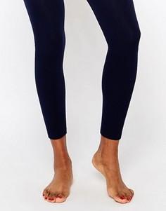 Вязаные колготки на флисовой подкладке без носка Plush - Темно-синий