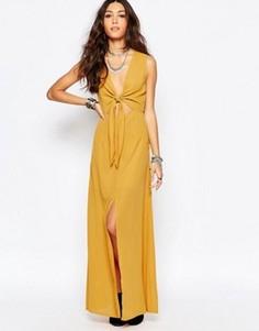 Платье макси с завязкой‑бантом спереди Wyldr - Желтый