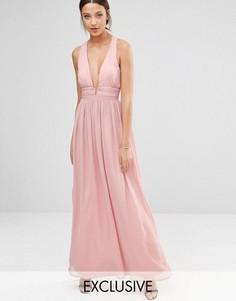 Платье для выпускного с декольте и открытой спиной True Decadence Tall - Розовый