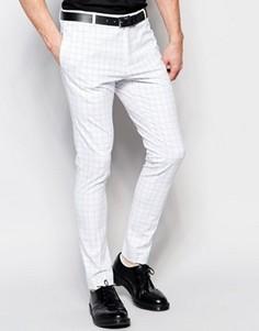 Супероблегающие эластичные брюки в клетку Religion - Белый