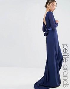Платье макси с длинными рукавами и бантом сзади TFNC Petite - Темно-синий