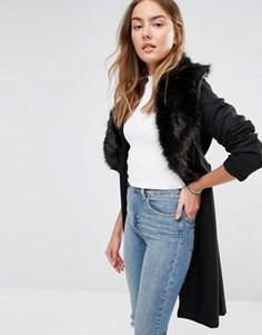 Длинное пальто с oversize-воротником из искусственного меха Brave Soul - Черный