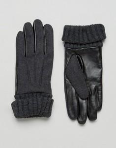 Темно-серые перчатки из кожи и фетра ASOS - Серый
