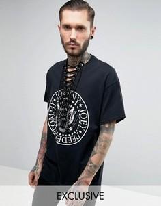Oversize-футболка с принтом и шнуровкой спереди Reclaimed Vintage Ramones - Черный