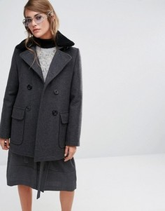 Пальто со съемным меховым воротником Gloverall Reefer - Серый
