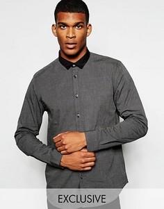 Строгая рубашка слим с маленьким контрастным воротником Wincer & Plant - Серый