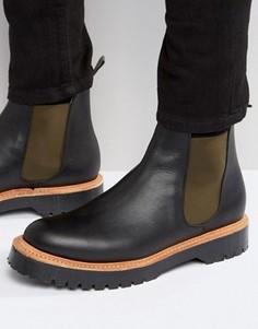 Изготовленные в Англии черные кожаные ботинки челси ASOS - Черный