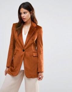 Фактурный удлиненный блейзер медного цвета Helene Berman - Оранжевый