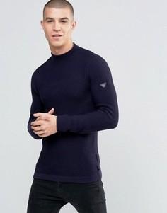 Темно-синий джемпер из фактурного трикотажа с логотипом на рукаве Armani Jeans - Темно-синий