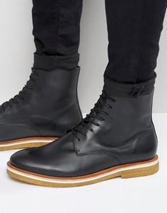 Кожаные ботинки на шнуровке с каучуковой подошвой Zign - Черный