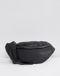 Кожаная сумка-кошелек на пояс Pieces - Черный