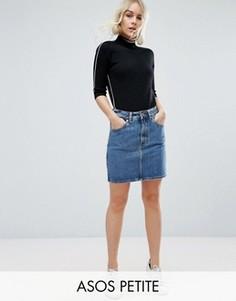 Синяя джинсовая мини‑юбка с завышенной талией ASOS PETITE - Синий
