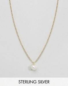Ожерелье из позолоченного серебра с искусственным жемчугом ASOS - Золотой