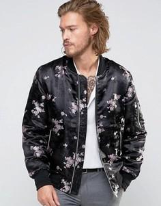Черная жаккардовая куртка-пилот с цветочным принтом ASOS - Черный