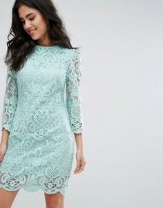 Цельнокройное кружевной платье с рукавами 3/4 Darling - Синий