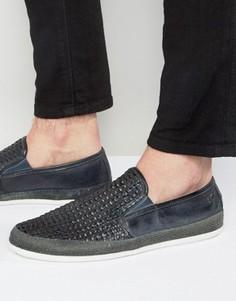 Плетеные кожаные туфли Base London Stage - Темно-синий