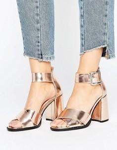 Золотисто-розовые босоножки на расклешенном каблуке Lost Ink Mollie - Золотой