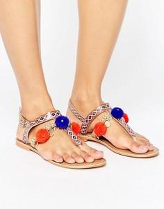Кожаные сандалии с помпонами и подвесками Glamorous - Мульти