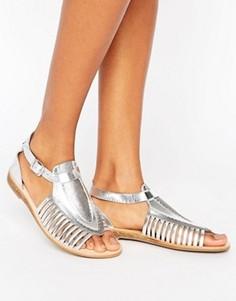 Кожаные сандалии с Т-образными ремешками Hudson London Pansy - Серебряный