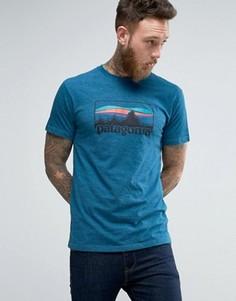 Синяя меланжевая футболка узкого кроя с логотипом Patagonia 73 - Синий