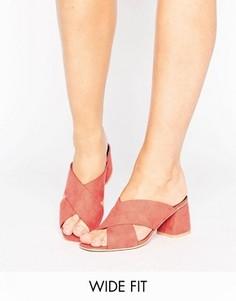 Сабо для широкой стопы на среднем каблуке с перекрестными ремешками Lost Ink - Розовый