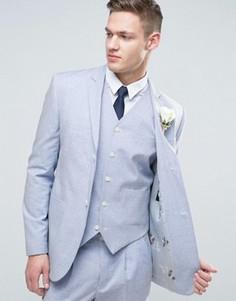 Узкий голубой пиджак с цветочным принтом на подкладке ASOS WEDDING - Синий