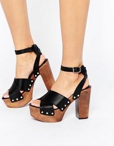 Кожаные босоножки на каблуке ASOS TOUCHED - Черный