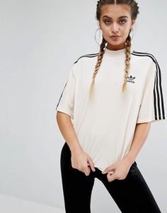 Бархатная футболка с тремя полосками adidas - Кремовый