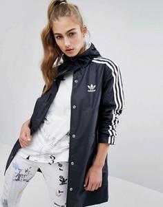 Куртка-дождевик с полосками и капюшоном adidas - Черный