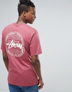 Футболка с винтажным принтом в горошек сзади Stussy - Розовый
