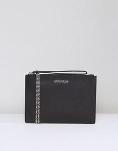 Черный кожаный клатч с застежкой на молнию Armani Jeans - Черный
