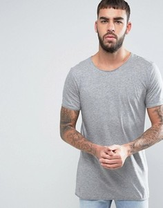 Серая длинная узкая футболка с необработанным краем HUGO by Hugo Boss Depus - Серый