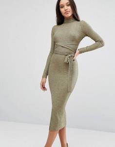 Платье миди с запахом и эффектом металлик Lavish Alice - Золотой