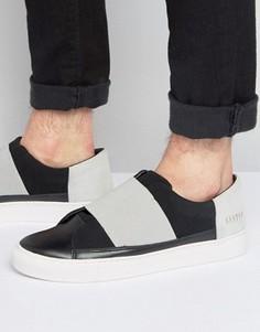 Черные кроссовки-слипоны с эластичным ремешком Systvm - Черный