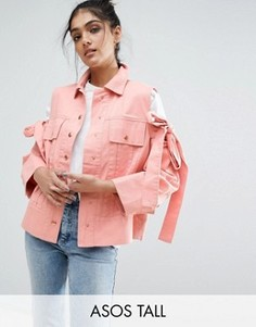 Куртка с вырезами и завязками на плечах ASOS TALL - Розовый