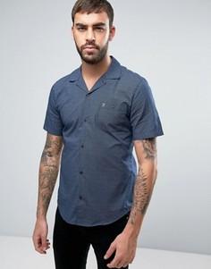 Темно-синяя рубашка зауженного кроя в полоску с короткими рукавами и отложным воротником Farah Trebant - Темно-синий