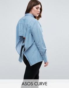 Рубашка в полоску с длинными манжетами и открытой спиной ASOS CURVE - Синий