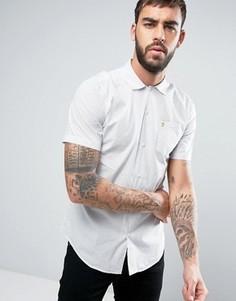 Светло-бежевая рубашка зауженного кроя в полоску с короткими рукавами и отложным воротником Farah Trebant - Белый