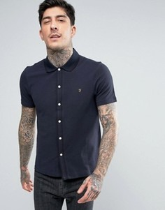 Темно-синяя облегающая рубашка из ткани пике с короткими рукавами Farah Homerton - Темно-синий