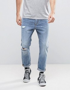 Укороченные джинсы с рваной отделкой Rollas Stubs - Синий Rollas